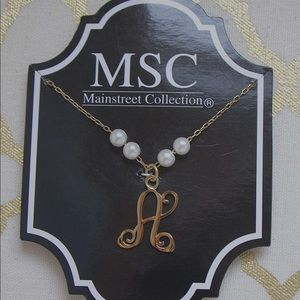 """Mainstreet Collection """"a"""" initial necklace"""